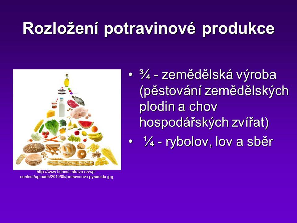 Rozložení potravinové produkce ¾ - zemědělská výroba (pěstování zemědělských plodin a chov hospodářských zvířat)¾ - zemědělská výroba (pěstování zemědělských plodin a chov hospodářských zvířat) ¼ - rybolov, lov a sběr ¼ - rybolov, lov a sběr http://www.hubnuti-strava.cz/wp- content/uploads/2010/05/potravinova-pyramida.jpg
