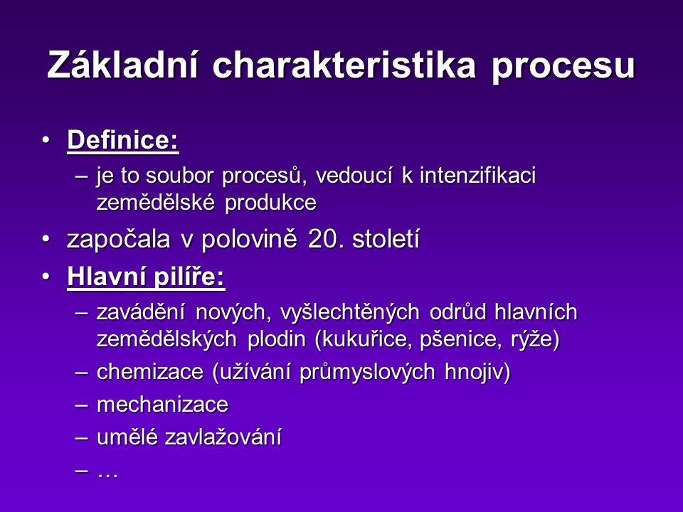 Základní charakteristika procesu Definice:Definice: –je to soubor procesů, vedoucí k intenzifikaci zemědělské produkce započala v polovině 20.