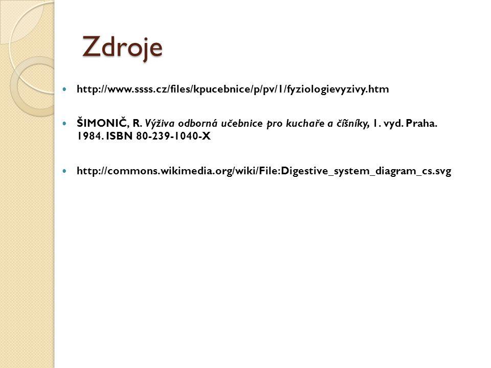 Zdroje http://www.ssss.cz/files/kpucebnice/p/pv/1/fyziologievyzivy.htm ŠIMONIČ, R.