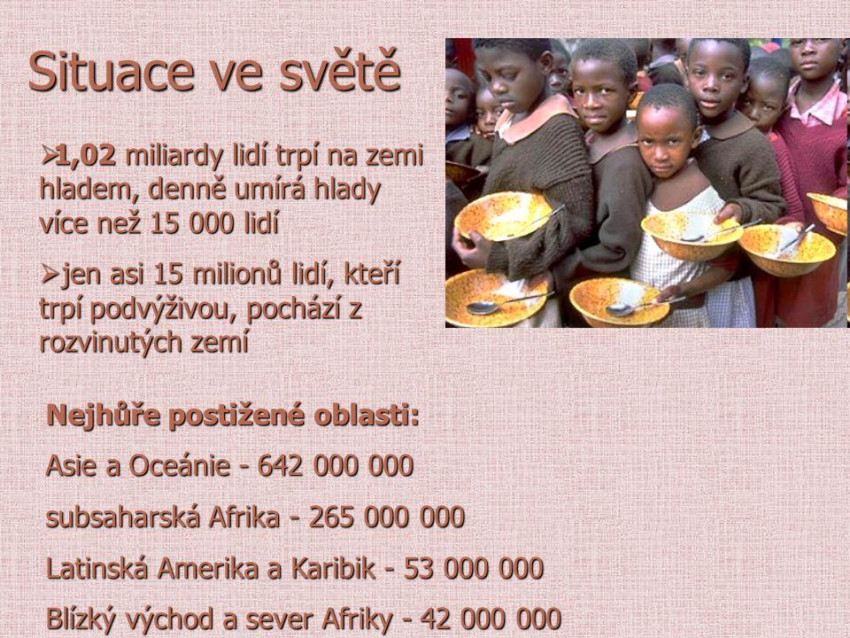Situace ve světě Nejhůře postižené oblasti: Asie a Oceánie - 642 000 000 subsaharská Afrika - 265 000 000 Latinská Amerika a Karibik - 53 000 000 Blíz