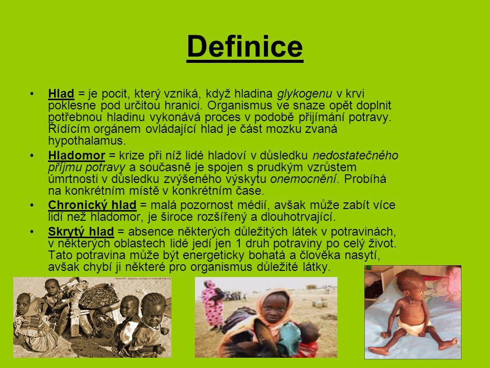 Definice podle FAO Podvýživa má celou řadu forem Akutní hlad – stav vzniká nižším kalorickým příjmem než je biologické minimum a po vyčerpání rezerv organismu hrozí smrt hladem, příjem kalorií je nižší než 1800/den, Chronická podvýživa – vzniká trvalým přijímáním nedostatečného množství kalorií ( pod hladinou spotřeby průměrného člověka Země – 2 300 cal/den v roce 1980, 2 700 – v roce 2010), ale nad úrovní biologického minima Dalšími rozhodujícími kritérii pro hodnocení výživy jsou ukazatele kvality – struktury konzumovaných potravin Racionální výživa – charakterizovaná jako zajištění všech potřebných výživných látek v objemu i vzájemném poměru optimálním pro rozvoj každého individua....