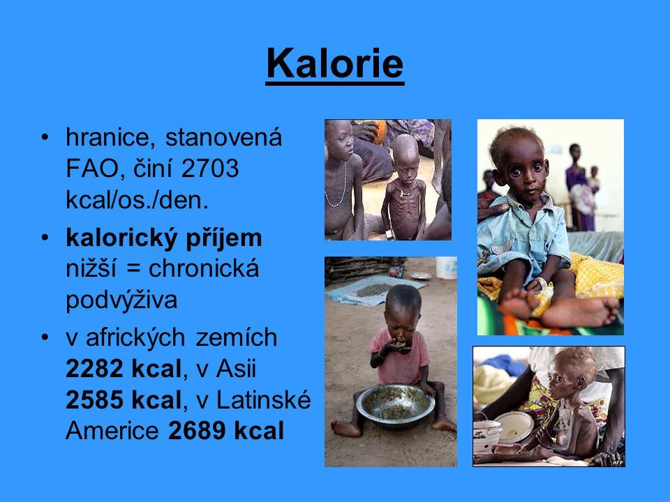 Kalorie hranice, stanovená FAO, činí 2703 kcal/os./den.