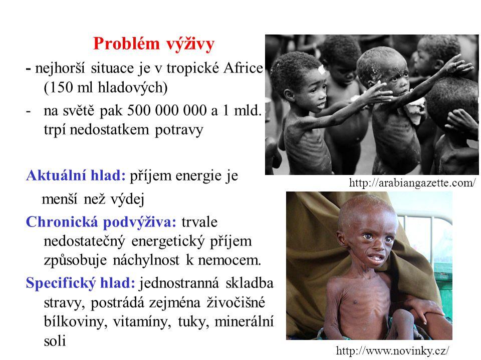 Problém výživy - nejhorší situace je v tropické Africe (150 ml hladových) -na světě pak 500 000 000 a 1 mld.