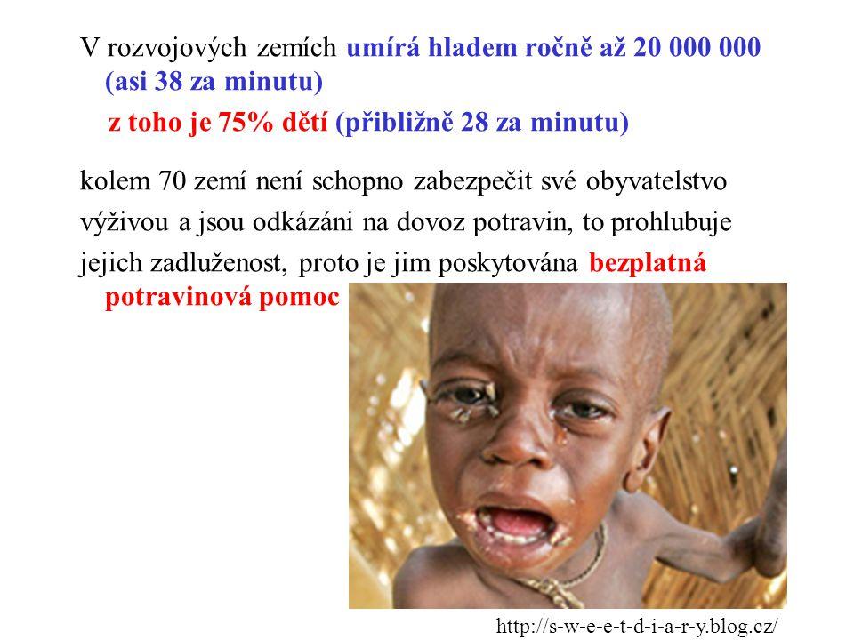 V rozvojových zemích umírá hladem ročně až 20 000 000 (asi 38 za minutu) z toho je 75% dětí (přibližně 28 za minutu) kolem 70 zemí není schopno zabezpečit své obyvatelstvo výživou a jsou odkázáni na dovoz potravin, to prohlubuje jejich zadluženost, proto je jim poskytována bezplatná potravinová pomoc http://s-w-e-e-t-d-i-a-r-y.blog.cz/
