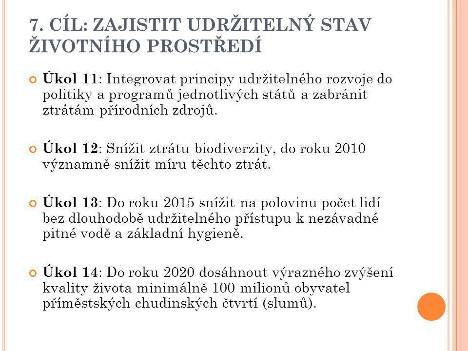 7. CÍL: ZAJISTIT UDRŽITELNÝ STAV ŽIVOTNÍHO PROSTŘEDÍ Úkol 11 : Integrovat principy udržitelného rozvoje do politiky a programů jednotlivých států a za
