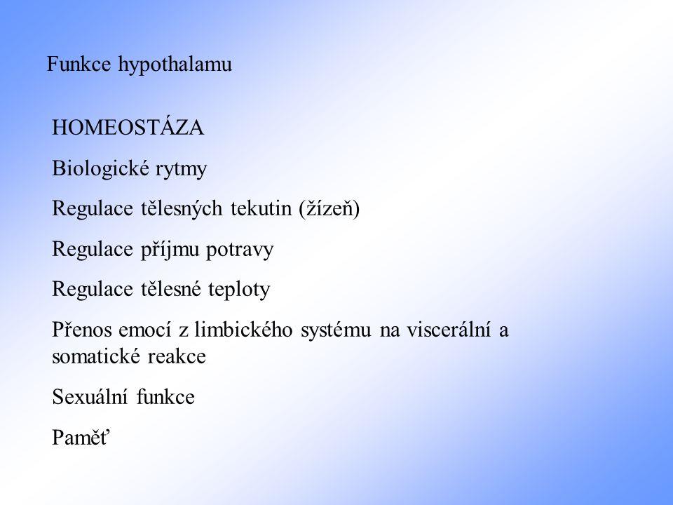 Funkce hypothalamu HOMEOSTÁZA Biologické rytmy Regulace tělesných tekutin (žízeň) Regulace příjmu potravy Regulace tělesné teploty Přenos emocí z limb
