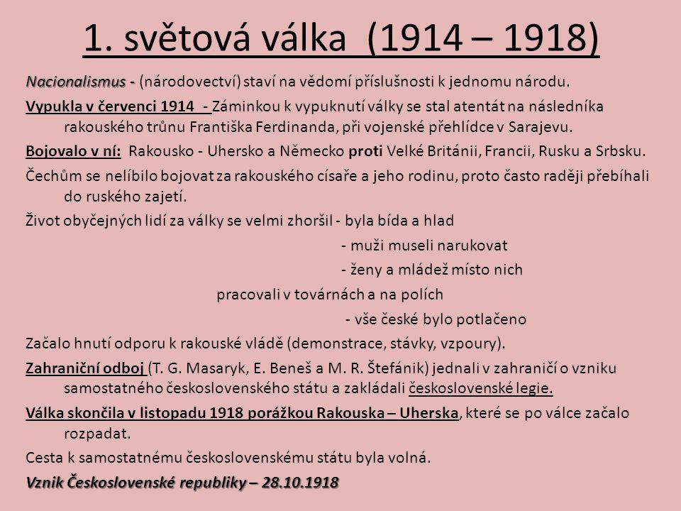 1. světová válka (1914 – 1918) Nacionalismus - Nacionalismus - (národovectví) staví na vědomí příslušnosti k jednomu národu. Vypukla v červenci 1914 -