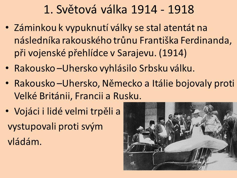 1. Světová válka 1914 - 1918 Záminkou k vypuknutí války se stal atentát na následníka rakouského trůnu Františka Ferdinanda, při vojenské přehlídce v