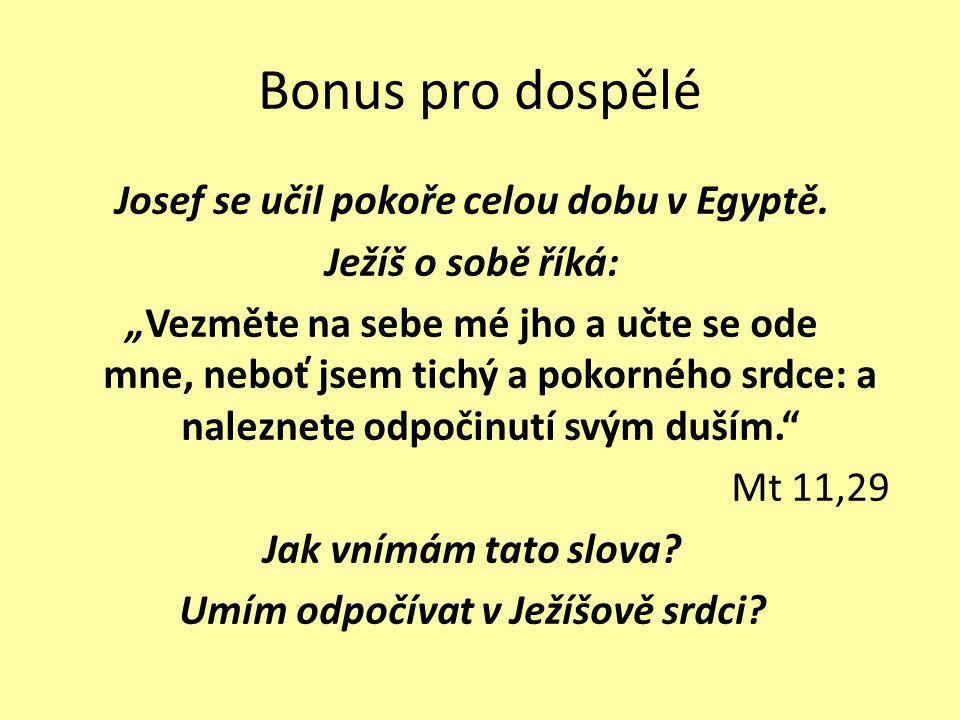 """Bonus pro dospělé Josef se učil pokoře celou dobu v Egyptě. Ježíš o sobě říká: """"Vezměte na sebe mé jho a učte se ode mne, neboť jsem tichý a pokorného"""