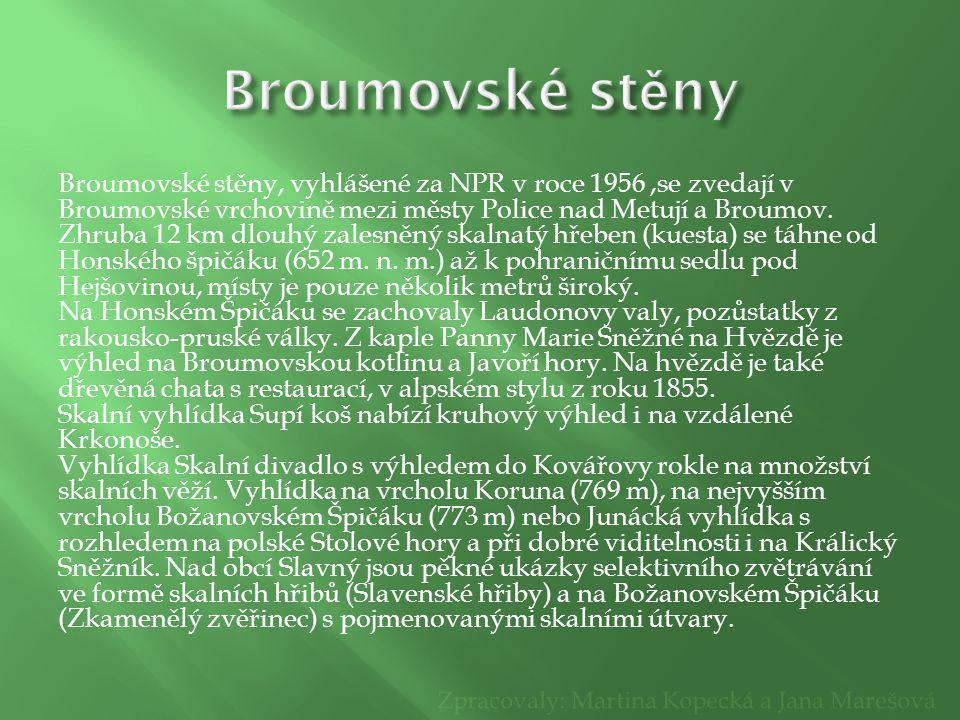 Broumovské stěny, vyhlášené za NPR v roce 1956,se zvedají v Broumovské vrchovině mezi městy Police nad Metují a Broumov. Zhruba 12 km dlouhý zalesněný