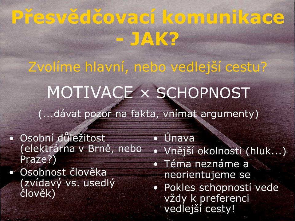 Přesvědčovací komunikace - JAK. Zvolíme hlavní, nebo vedlejší cestu.