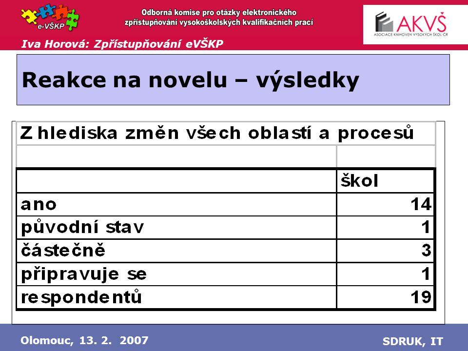 Iva Horová: Zpřístupňování eVŠKP Olomouc, 13. 2. 2007 SDRUK, IT Reakce na novelu – výsledky