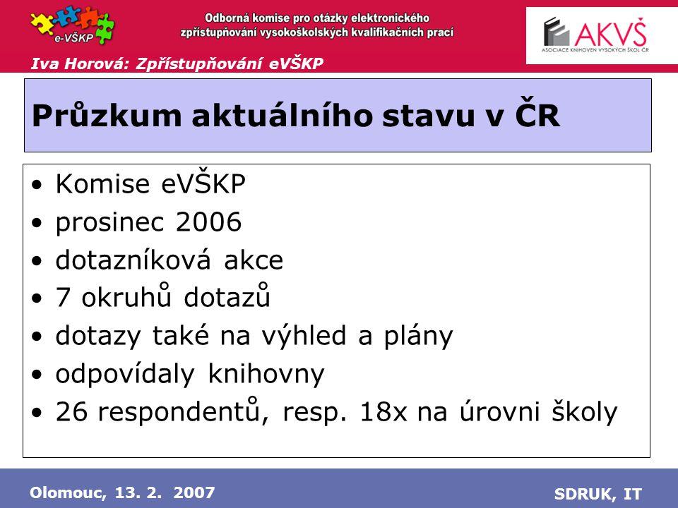 Iva Horová: Zpřístupňování eVŠKP Olomouc, 13.2. 2007 SDRUK, IT Sběr elektronických verzí: .