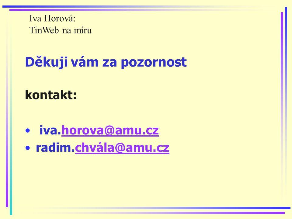 Děkuji vám za pozornost kontakt: iva.horova@amu.czhorova@amu.cz radim.chvála@amu.czchvála@amu.cz Iva Horová: TinWeb na míru