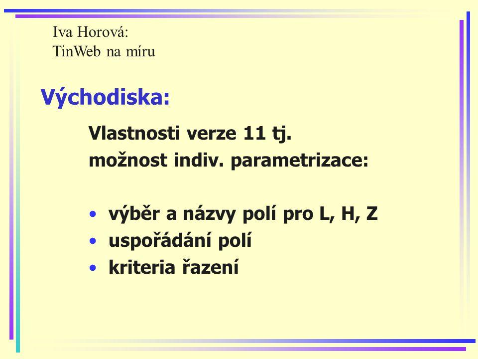 Východiska: Vlastnosti verze 11 tj. možnost indiv.