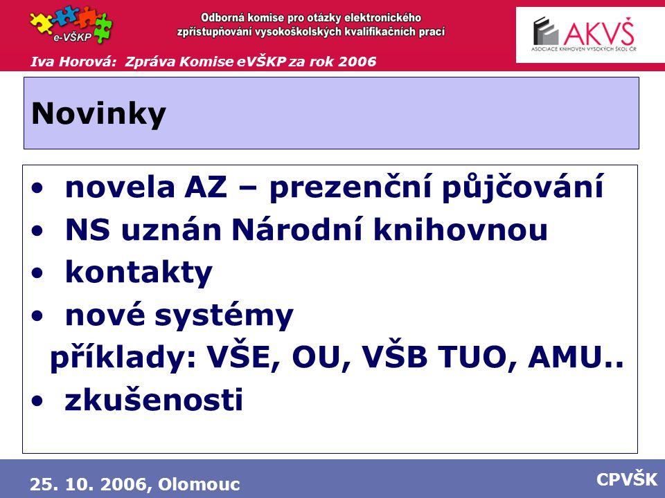 Iva Horová: Zpráva Komise eVŠKP za rok 2006 25. 10. 2006, Olomouc CPVŠK Novinky novela AZ – prezenční půjčování NS uznán Národní knihovnou kontakty no