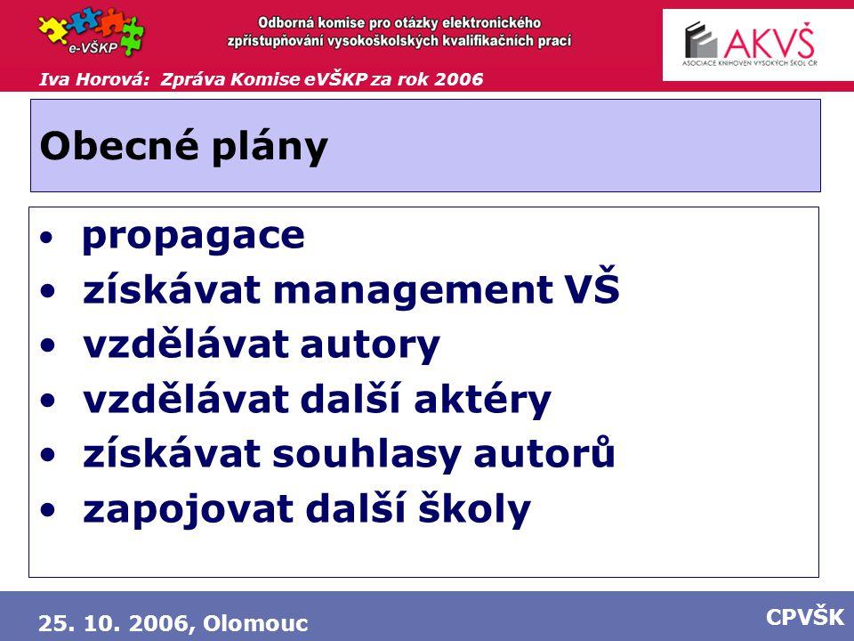 Iva Horová: Zpráva Komise eVŠKP za rok 2006 25. 10. 2006, Olomouc CPVŠK Obecné plány propagace získávat management VŠ vzdělávat autory vzdělávat další