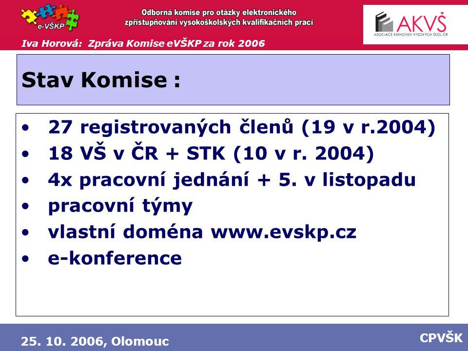 Iva Horová: Zpráva Komise eVŠKP za rok 2006 25. 10. 2006, Olomouc CPVŠK Stav Komise : 27 registrovaných členů (19 v r.2004) 18 VŠ v ČR + STK (10 v r.