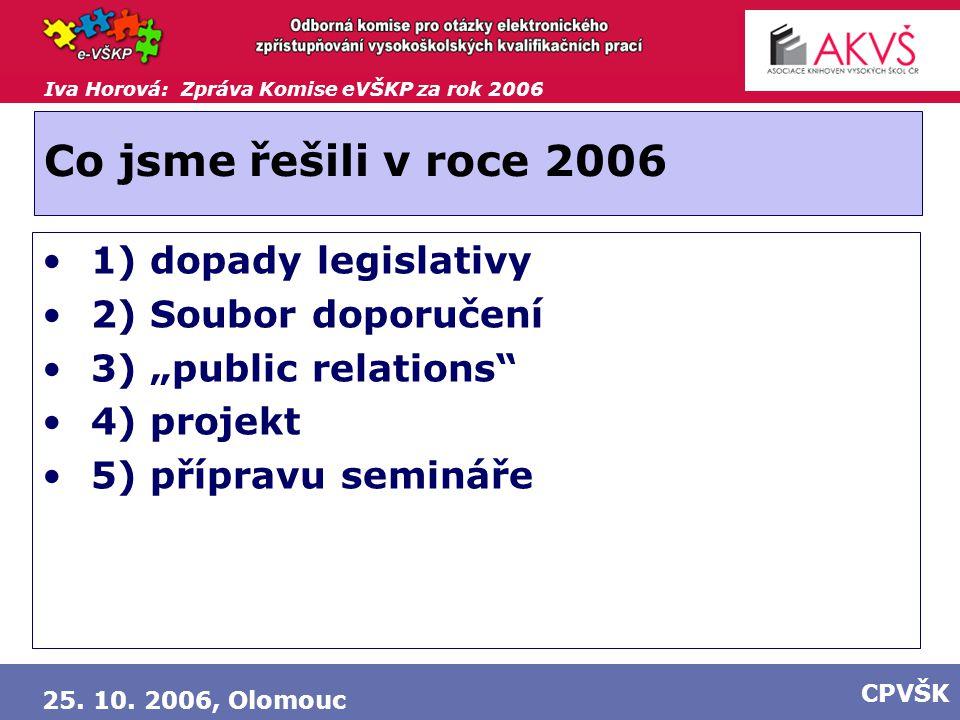 """Iva Horová: Zpráva Komise eVŠKP za rok 2006 25. 10. 2006, Olomouc CPVŠK Co jsme řešili v roce 2006 1) dopady legislativy 2) Soubor doporučení 3) """"publ"""