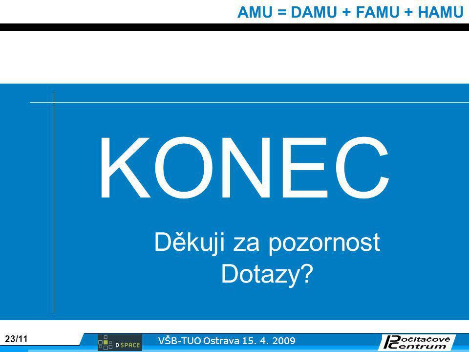23/11 VŠB-TUO Ostrava 15. 4. 2009 AMU = DAMU + FAMU + HAMU KONEC Děkuji za pozornost Dotazy