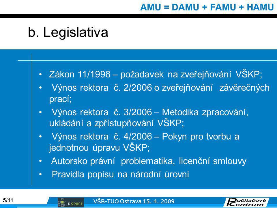 5/11 VŠB-TUO Ostrava 15. 4. 2009 AMU = DAMU + FAMU + HAMU b.