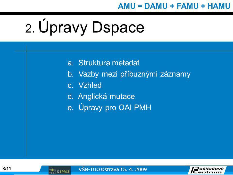 8/11 VŠB-TUO Ostrava 15. 4. 2009 AMU = DAMU + FAMU + HAMU a.