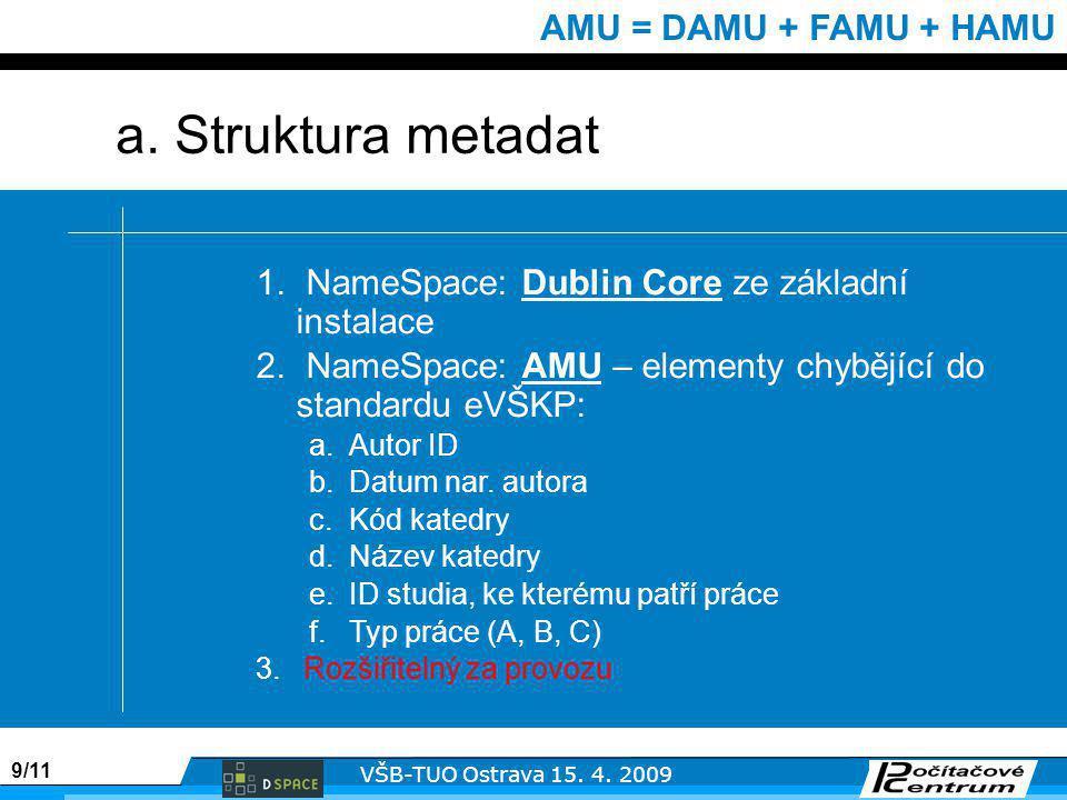 9/11 VŠB-TUO Ostrava 15. 4. 2009 AMU = DAMU + FAMU + HAMU 1.