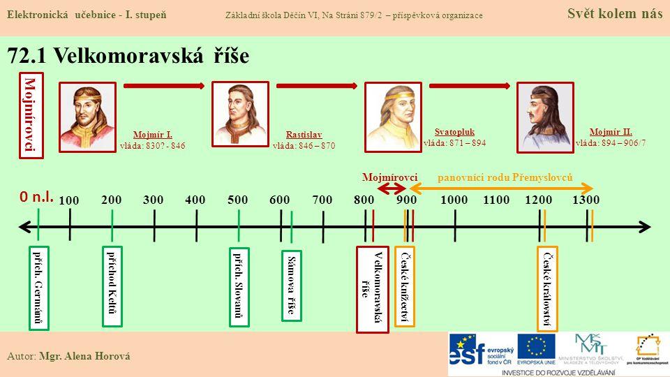 Mojmír II. vláda: 894 – 906/7 Svatopluk vláda: 871 – 894 Rastislav vláda: 846 – 870 Mojmír I. vláda: 830? - 846 0 n.l. 72.1 Velkomoravská říše Elektro