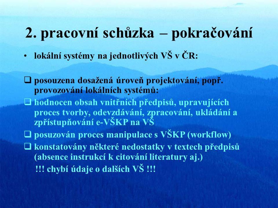 2. pracovní schůzka – pokračování lokální systémy na jednotlivých VŠ v ČR:  posouzena dosažená úroveň projektování, popř. provozování lokálních systé