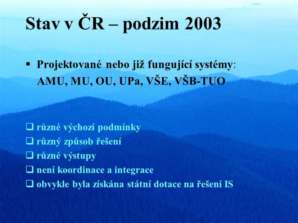 Stav v ČR – podzim 2003  Projektované nebo již fungující systémy: AMU, MU, OU, UPa, VŠE, VŠB-TUO  různé výchozí podmínky  různý způsob řešení  různé výstupy  není koordinace a integrace  obvykle byla získána státní dotace na řešení IS