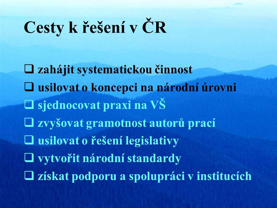 Cesty k řešení v ČR  zahájit systematickou činnost  usilovat o koncepci na národní úrovni  sjednocovat praxi na VŠ  zvyšovat gramotnost autorů prací  usilovat o řešení legislativy  vytvořit národní standardy  získat podporu a spolupráci v institucích