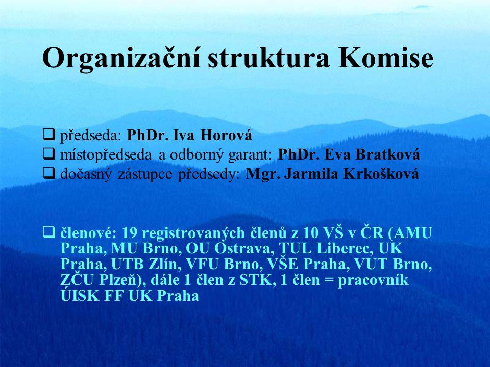 Organizační struktura Komise  předseda: PhDr. Iva Horová  místopředseda a odborný garant: PhDr.