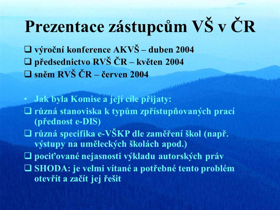 Prezentace zástupcům VŠ v ČR  výroční konference AKVŠ – duben 2004  předsednictvo RVŠ ČR – květen 2004  sněm RVŠ ČR – červen 2004 Jak byla Komise a její cíle přijaty:  různá stanoviska k typům zpřístupňovaných prací (přednost e-DIS)  různá specifika e-VŠKP dle zaměření škol (např.