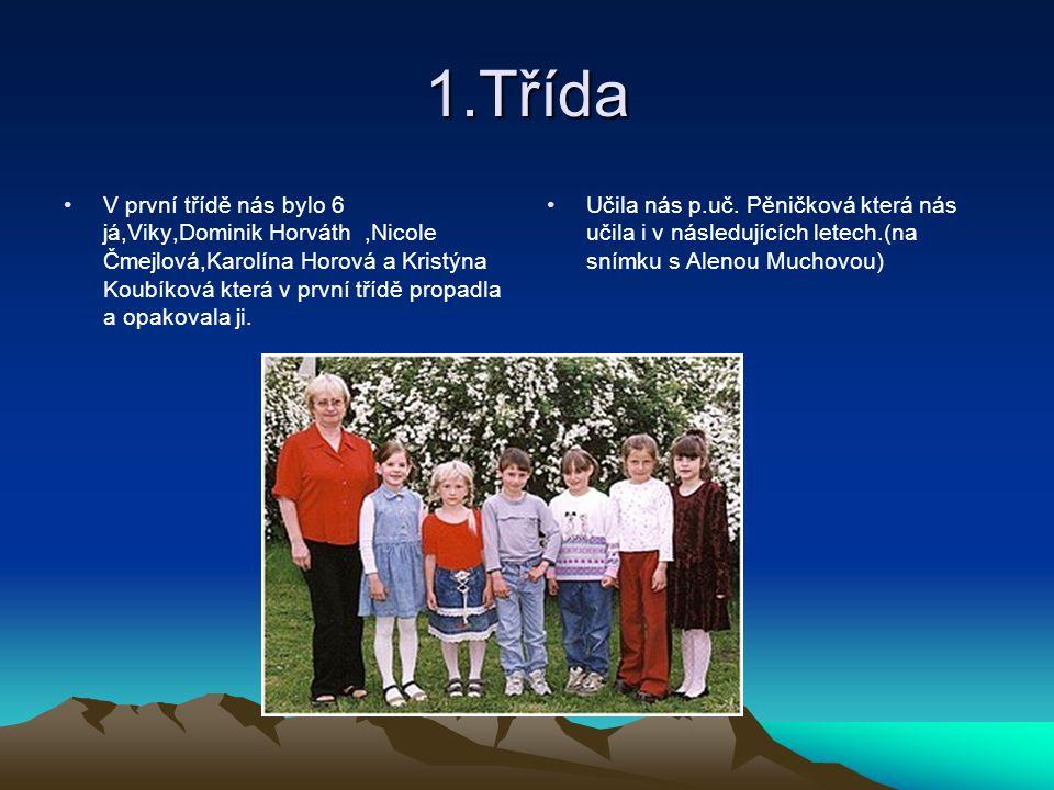 1.Třída V první třídě nás bylo 6 já,Viky,Dominik Horváth,Nicole Čmejlová,Karolína Horová a Kristýna Koubíková která v první třídě propadla a opakovala