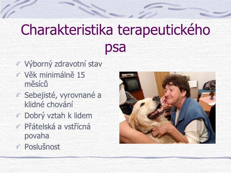 Charakteristika terapeutického psa Výborný zdravotní stav Věk minimálně 15 měsíců Sebejisté, vyrovnané a klidné chování Dobrý vztah k lidem Přátelská