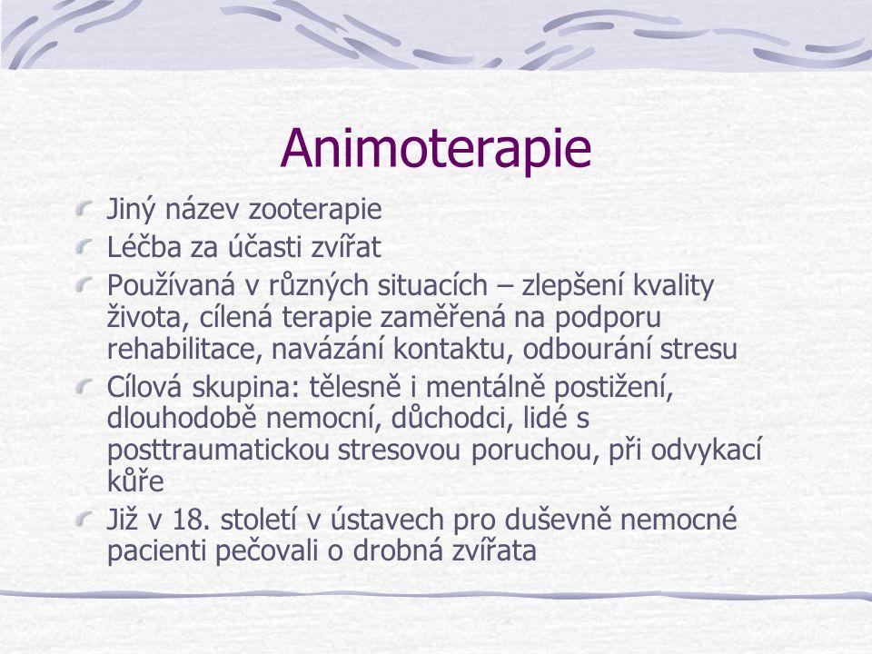 Animoterapie Jiný název zooterapie Léčba za účasti zvířat Používaná v různých situacích – zlepšení kvality života, cílená terapie zaměřená na podporu