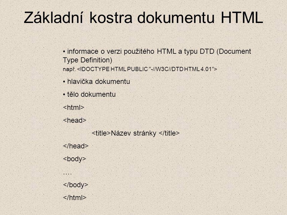 Základní kostra dokumentu HTML informace o verzi použitého HTML a typu DTD (Document Type Definition) např. hlavička dokumentu tělo dokumentu Název st