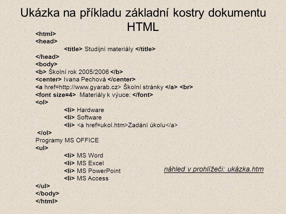 Ukázka na příkladu základní kostry dokumentu HTML Studijní materiály Školní rok 2005/2006 Ivana Pechová Školní stránky Materiály k výuce: Hardware Sof