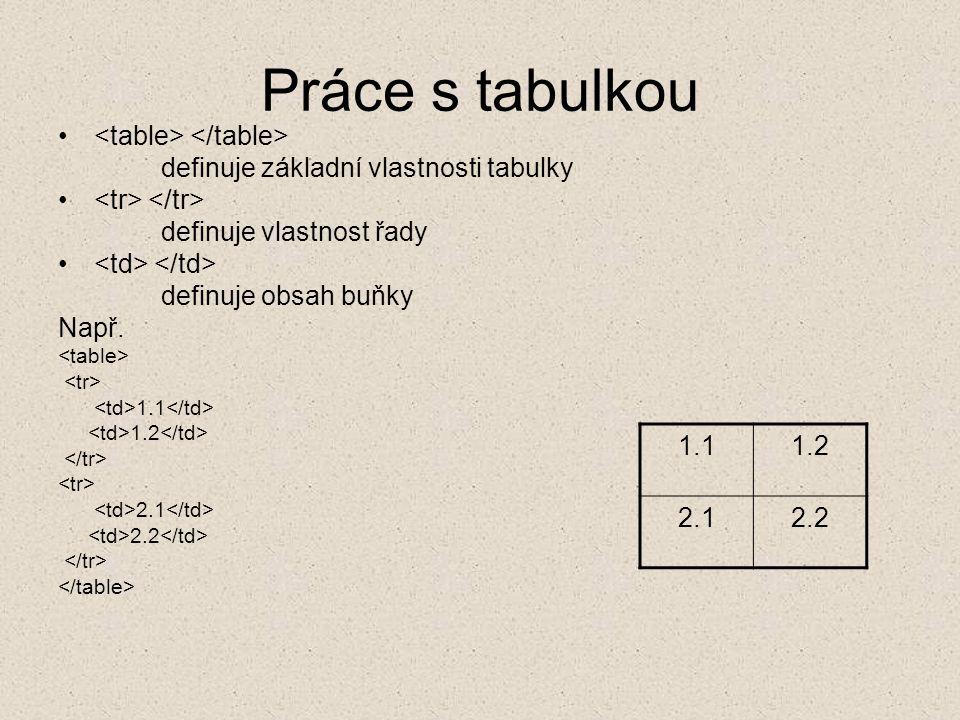 Práce s tabulkou definuje základní vlastnosti tabulky definuje vlastnost řady definuje obsah buňky Např.
