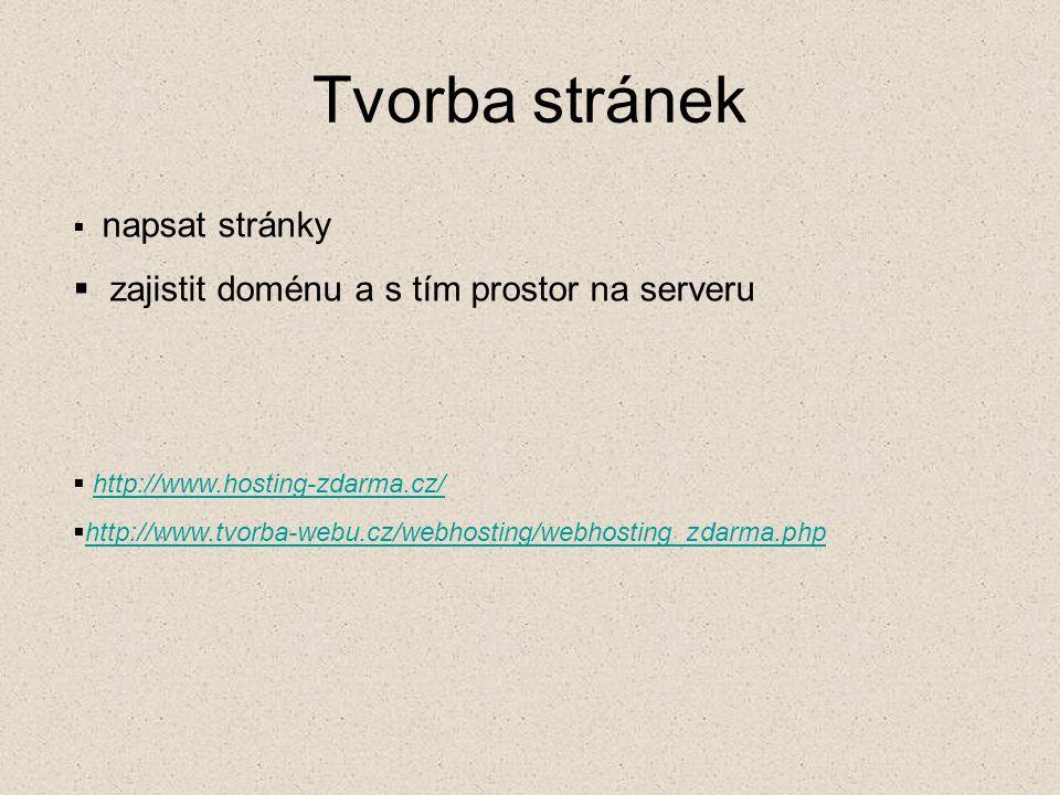 Tvorba stránek  napsat stránky  zajistit doménu a s tím prostor na serveru  http://www.hosting-zdarma.cz/http://www.hosting-zdarma.cz/  http://www.tvorba-webu.cz/webhosting/webhosting_zdarma.php http://www.tvorba-webu.cz/webhosting/webhosting_zdarma.php
