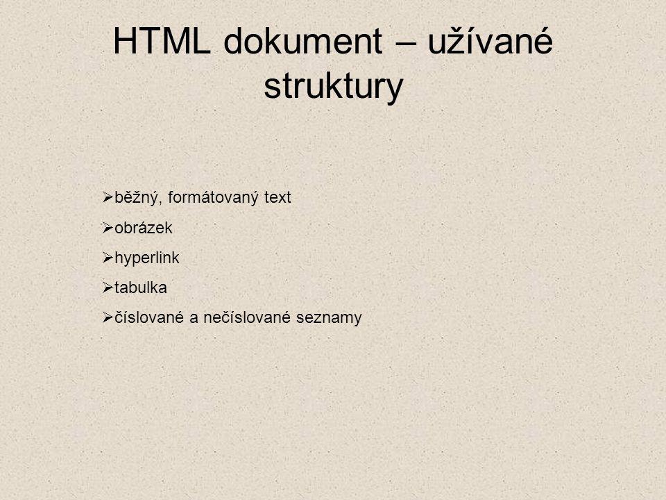 HTML dokument – užívané struktury  běžný, formátovaný text  obrázek  hyperlink  tabulka  číslované a nečíslované seznamy