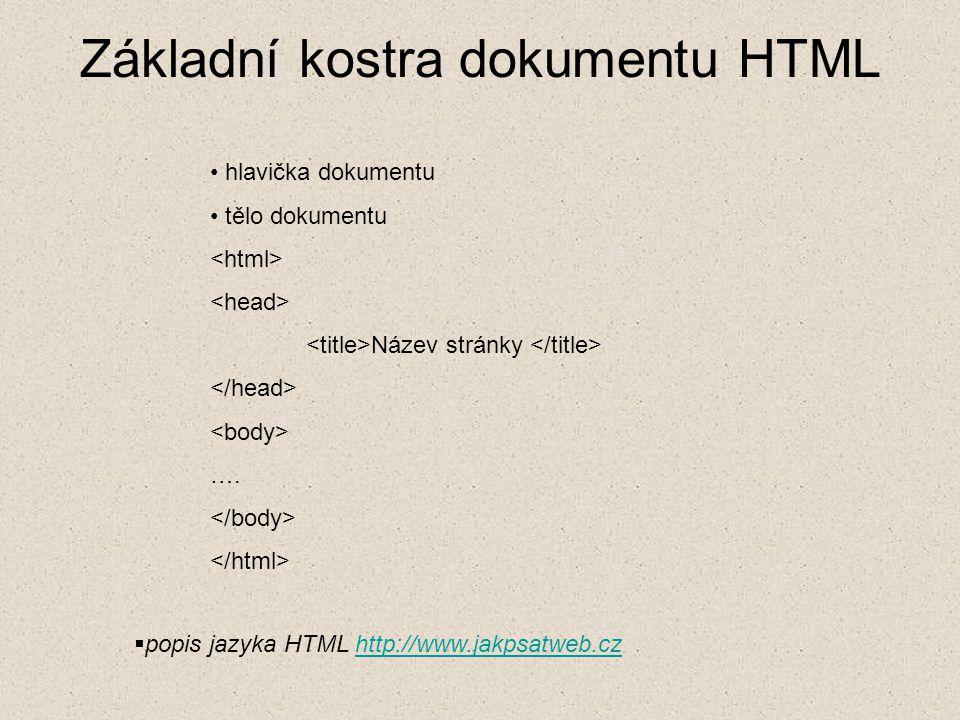 Základní kostra dokumentu HTML hlavička dokumentu tělo dokumentu Název stránky ….