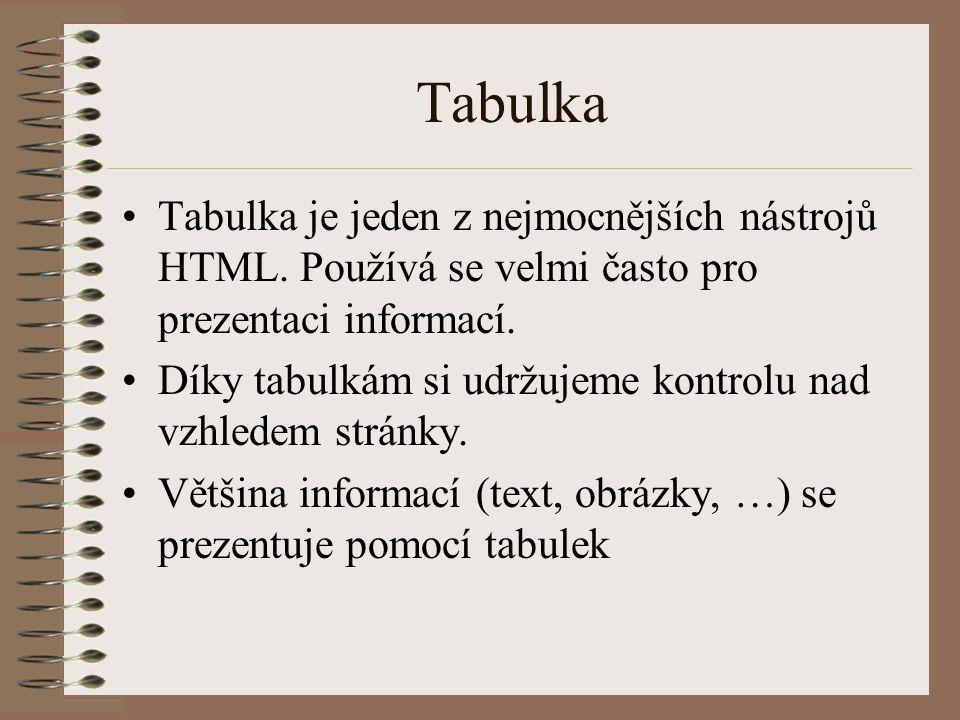 Tabulka Tabulka je jeden z nejmocnějších nástrojů HTML. Používá se velmi často pro prezentaci informací. Díky tabulkám si udržujeme kontrolu nad vzhle