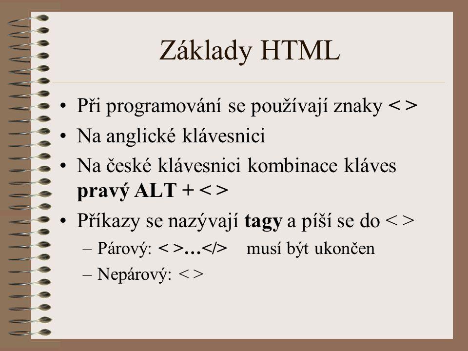 Základy HTML Při programování se používají znaky Na anglické klávesnici Na české klávesnici kombinace kláves pravý ALT + Příkazy se nazývají tagy a pí