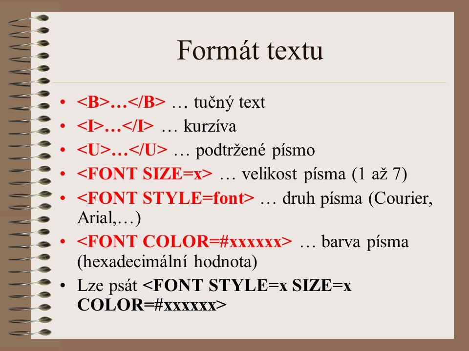Formát textu … … tučný text … … kurzíva … … podtržené písmo … velikost písma (1 až 7) … druh písma (Courier, Arial,…) … barva písma (hexadecimální hod