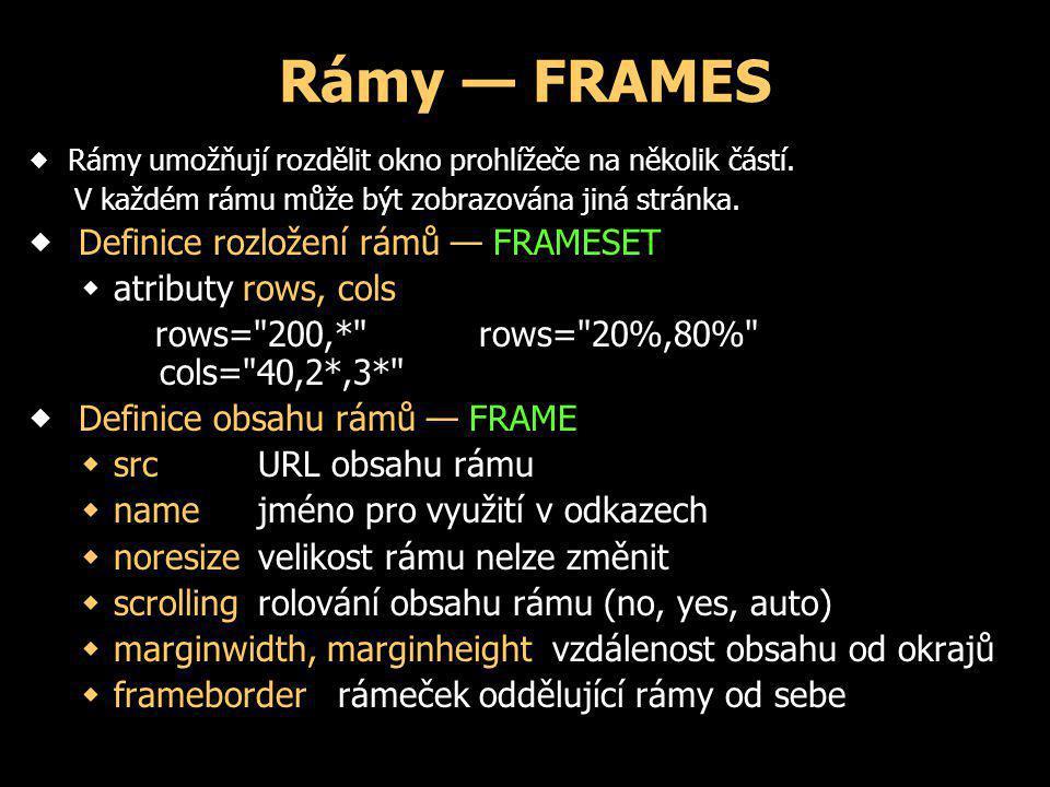 Rámy — FRAMES  Rámy umožňují rozdělit okno prohlížeče na několik částí. V každém rámu může být zobrazována jiná stránka.  Definice rozložení rámů —