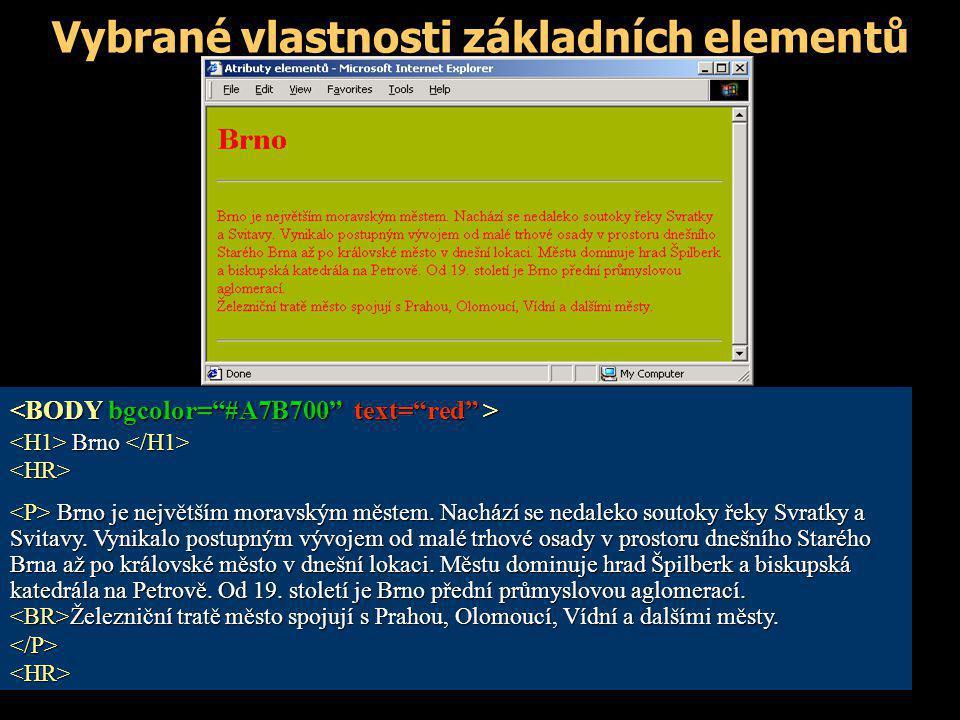 Vybrané vlastnosti základních elementů Brno Brno <HR> Brno je největším moravským městem. Nachází se nedaleko soutoky řeky Svratky a Svitavy. Vynikalo