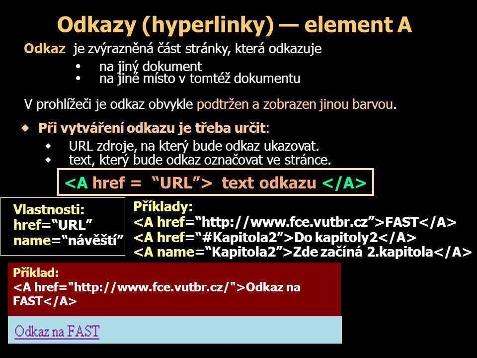 Odkazy (hyperlinky) — element A Příklad: Odkaz na FAST Zobrazení v prohlížeči: Příklady: FAST Do kapitoly2 Zde začíná 2.kapitola Vlastnosti: href= URL name= návěští Odkaz je zvýrazněná část stránky, která odkazuje   na jiný dokument   na jiné místo v tomtéž dokumentu V prohlížeči je odkaz obvykle podtržen a zobrazen jinou barvou.