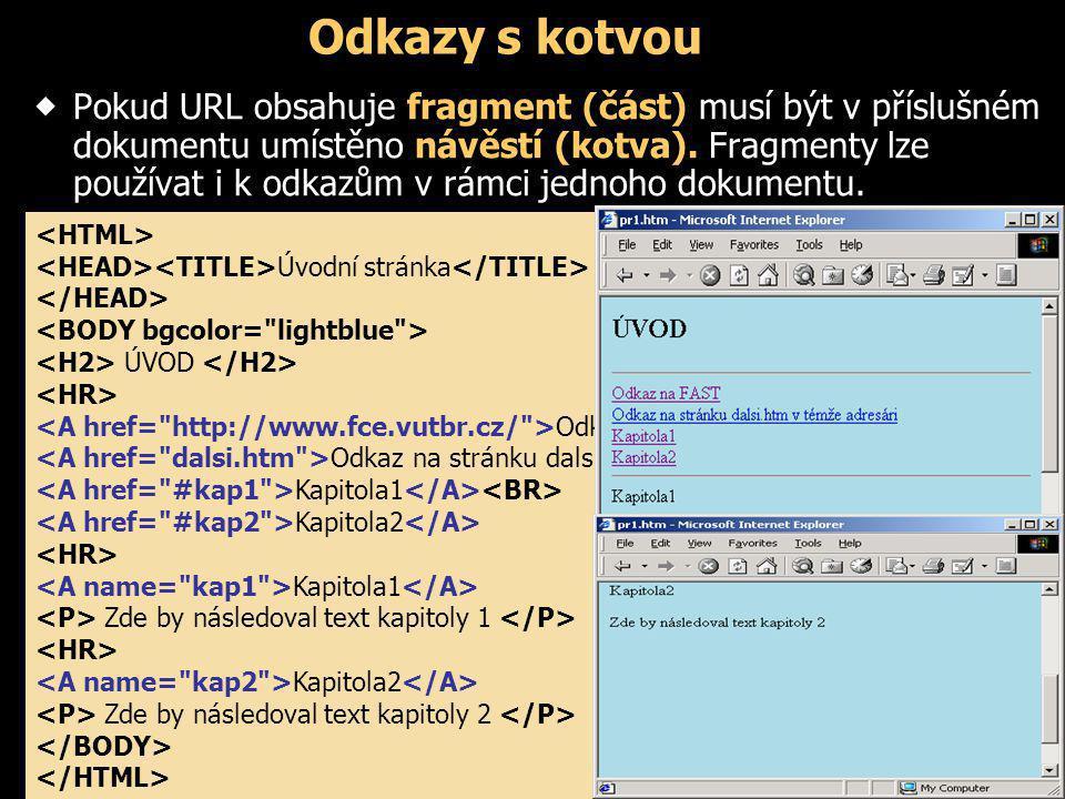 Odkazy s kotvou  Pokud URL obsahuje fragment (část) musí být v příslušném dokumentu umístěno návěstí (kotva). Fragmenty lze používat i k odkazům v rá