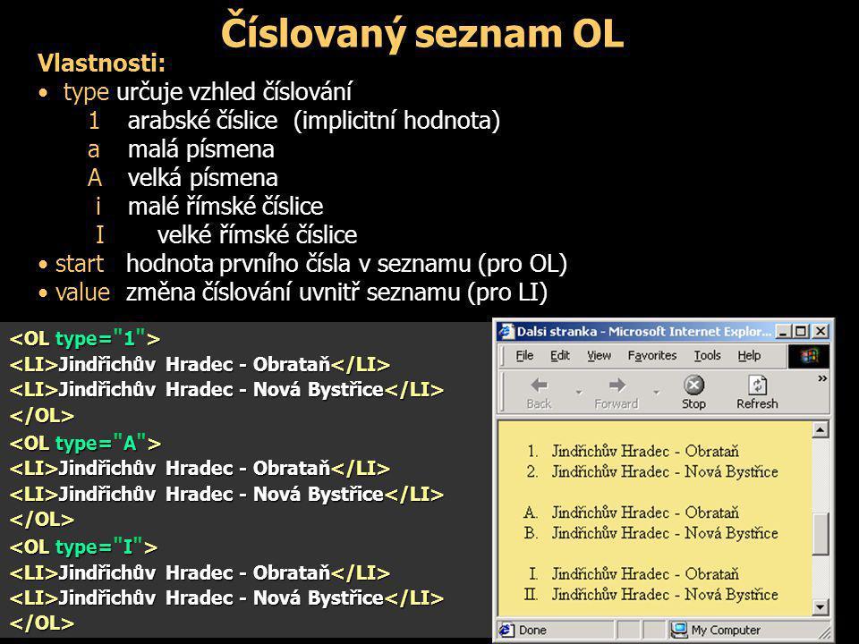 Číslovaný seznam OL Vlastnosti: type určuje vzhled číslování 1 arabské číslice (implicitní hodnota) amalá písmena A velká písmena i malé římské číslic